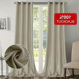 Rose Home Fashion 100% Blackout Curtains for Bedroom Linen T