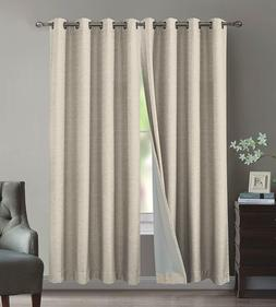 100% Blackout Linen Heavy-Duty Window Curtain Panels, Full L