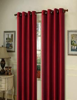 2 BURGUNDY PANELS THICK 99% LINEN BLACKOUT GROMMET WINDOW CU