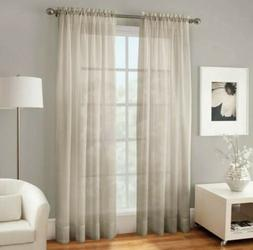 2 Crushed Voile Sheer 120-Inch Rod Pocket Window Curtain Pan