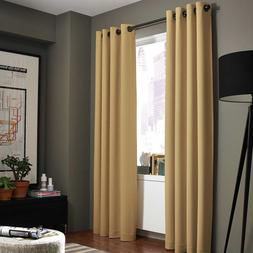 2 GOLD PANELS THICK 99% LINEN BLACKOUT GROMMET WINDOW CURTAI
