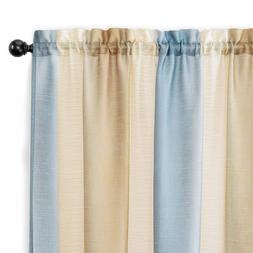 2 Pack: Rainbow Striped Semi Sheer Linen Window Curtains - A