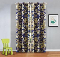 Fancy Linen 2 Panel Curtain Set for Kids Army Camouflage Bei