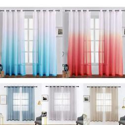 2 Panels Faux Linen Gradient Sheer Curtains for Bedroom Livi