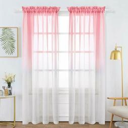 2 Panels Rod Pocket Sheer Curtains Faux Linen Solid /Gradien