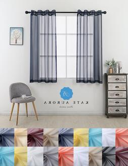 2 Pc. Designer Sheer Voile Grommet Top Window Curtains - Ass