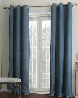 2 TEAL BLUE PANELS THICK 99% LINEN BLACKOUT GROMMET WINDOW C