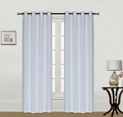 2pc Home Curtains Solid Linen Feel Wide Window Curtain Panel