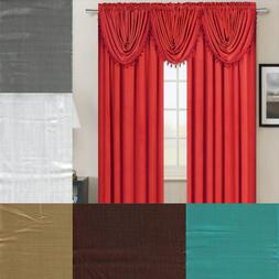 2PC SET SILK LINEN TEXTURE POCKET TOP PANEL WINDOW CURTAIN F