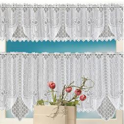 2PCS Lace Coffee Cafe Window Tier Curtain Set Kitchen Dining