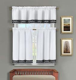3 Pc White Kitchen Window Curtain Set:Crochet Black and Whit