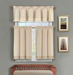 3 c Linen Kitchen Window Curtain Set: Crochet Taupe and Line