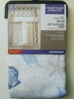 3 Pc Seashells Tiers/Valance Home Kitchen Curtains Home Deco