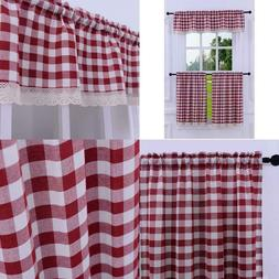 3 Pieces Kitchen Curtain Tier And Valance Set Checkered Cott