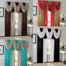 5PC COMPLETE SET SILK LINEN TEXTURE ROOM PANEL VALANCE WINDO