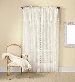 Country Lace Curtain Panel with Attached Valance & Tassels -