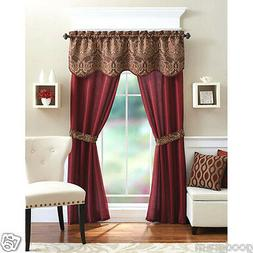 Unique 5 Piece Complete Window Curtain Set With Tiebacks - A