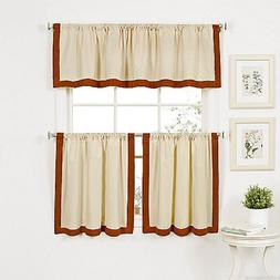 Wilton Banded Kitchen Curtain 24 inch Tier and Valance Set S