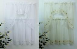 American Linen Kitchen Curtain Swag and Teir Set with Embroi