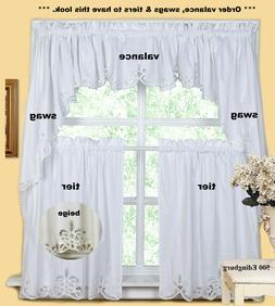 Creative Linens Battenburg Kitchen Curtain Valance Tier Swag