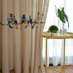 Beige Embroidered Birds Curtain Linen Like Fabric White Shee