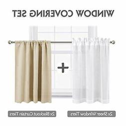 Beige Short Window Curtains with White Linen Look Sheer Tier