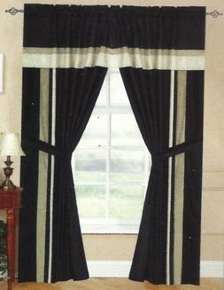 black taupe window curtain panels at