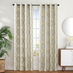 Blackout Curtains for Bedroom Moroccan Tile Printed Linen Te