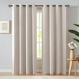 Blackout Linen Fabric Curtains Gold Bead Bordered Moderate C