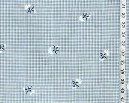 Blue plaid taffeta fabric embroidered flower Clarence House