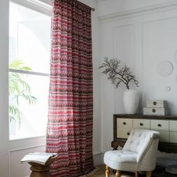 Bohemian Style Red Printed Partition Linen Curtain Tassel Co