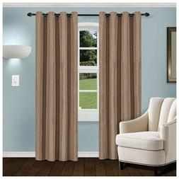 Superior Brown Linen Blackout Insulated Grommet Curtains 2 P