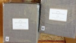 Pottery Barn Set 2 Linen Border Drape Sheer 84L Gray White C