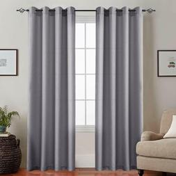Casual Weave Curtain Grommet Top Linen Textured Privacy Drap