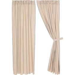 """Charlotte Azure 84"""" PANELS Lined CURTAINS Country Cotton/Lin"""