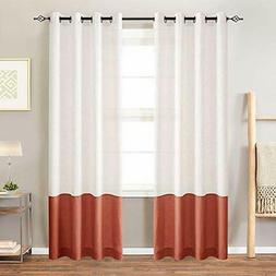 Curtainking Color Block Curtains for Living Room Linen Textu