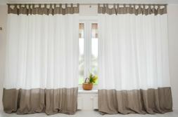 Color Block Natural Linen Curtain - Tab Top Panel in Two Col