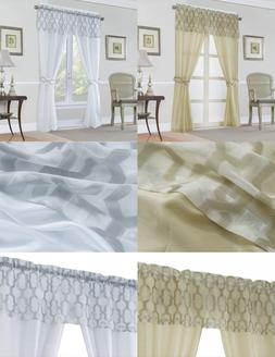 Complete Geometric Trellis Sheer Window in a Bag Curtain Set