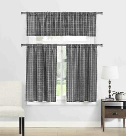 Natural Cotton Blend 3 Piece Kitchen Window Curtain/Cafe Tie