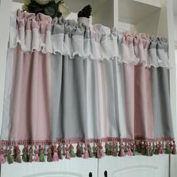 Cotton Linen Striped Cafe Curtain With Lace & Tassel Trims R