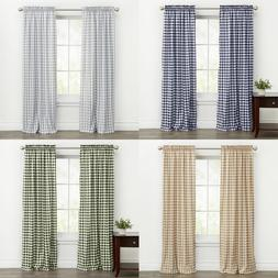Country Farmhouse Basic Plaid Checkered Window Curtains - As