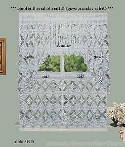White Knitted Crochet Lace Kitchen Curtain Valance Tier or S