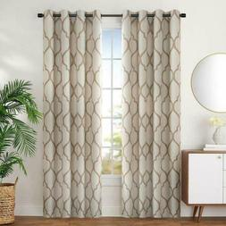 JINCHAN Curtains for Bedroom Moroccan Tile Linen Textured Dr