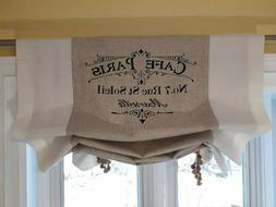 """Custom Made Large French Country """"CAFE PARIS"""" Script  Linen"""