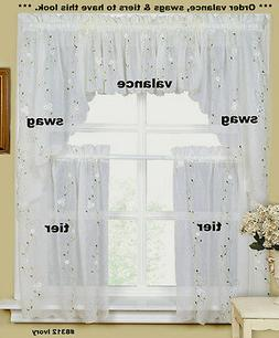 Daisy Embroidery Kitchen Curtain Valance Tiers or Swags IVOR