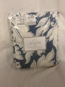 Pottery Barn Dark Blue BELGIAN FLAX LINEN DAMASK SHEER Drape