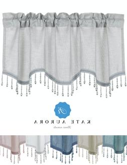 Kate Aurora Elegant Beaded Scalloped Window Valance Curtains