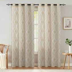 Embroidered Design Curtains Linen Textured Curtains for Livi