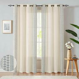 Embroidered Window Curtains Flax Linen Textured Geometry Lat
