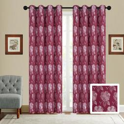 embroidery 2 panel curtain set with grommet